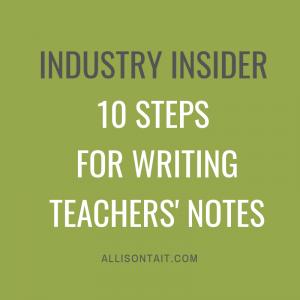 10 steps for writing teachers' notes for children's books   allisontait.com