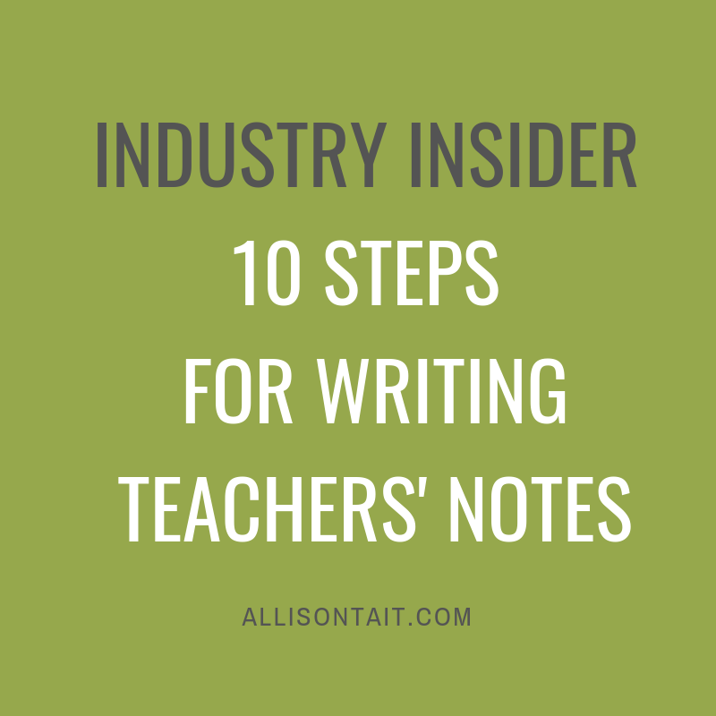 10 steps for writing teachers' notes for children's books | allisontait.com